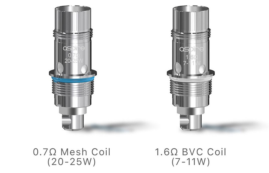 The Nautilus GT Mini tank is compatible with all of the Nautilus BVC coil range, including the 0.7 Ohm mesh and 1.6 Ohm MTL variants included.
