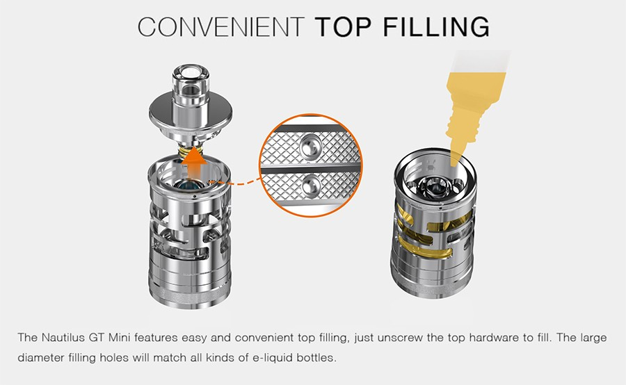 The 2ml Nautilus GT Mini features top filling capabilities, for a secure and clean filling process.