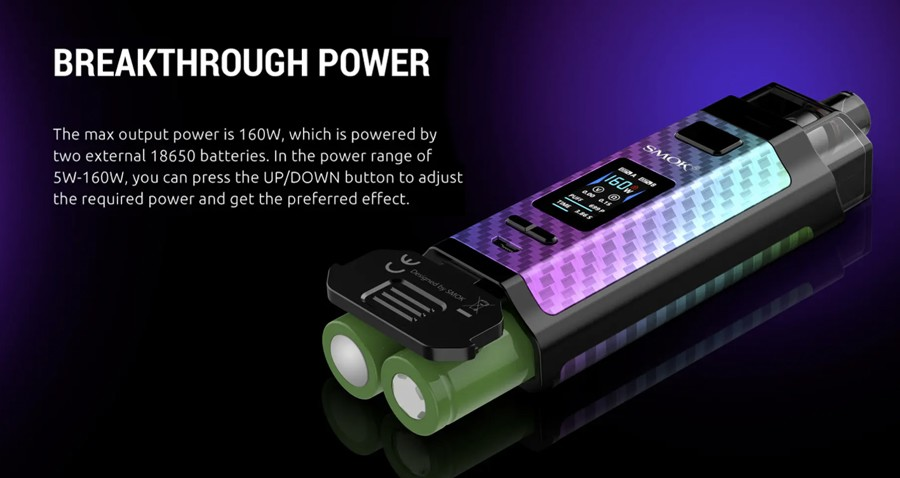 The RPM160 pod device is powered by dual 18650 batteries and features a 160W adjustable output.