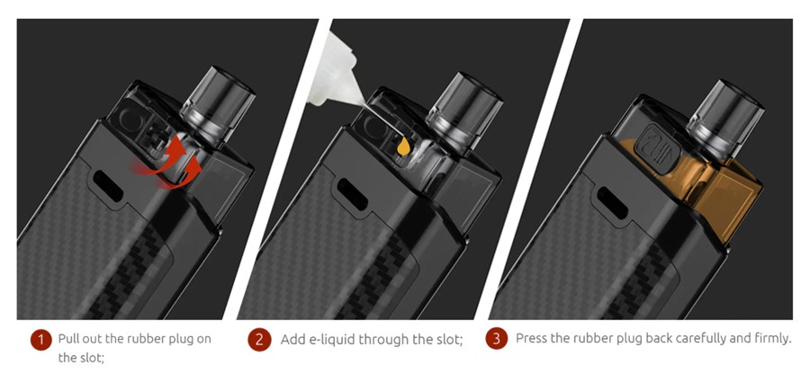 The RPM160 2ml pods can be refilled via the side fill silicone stopper, without needing to remove from the device.