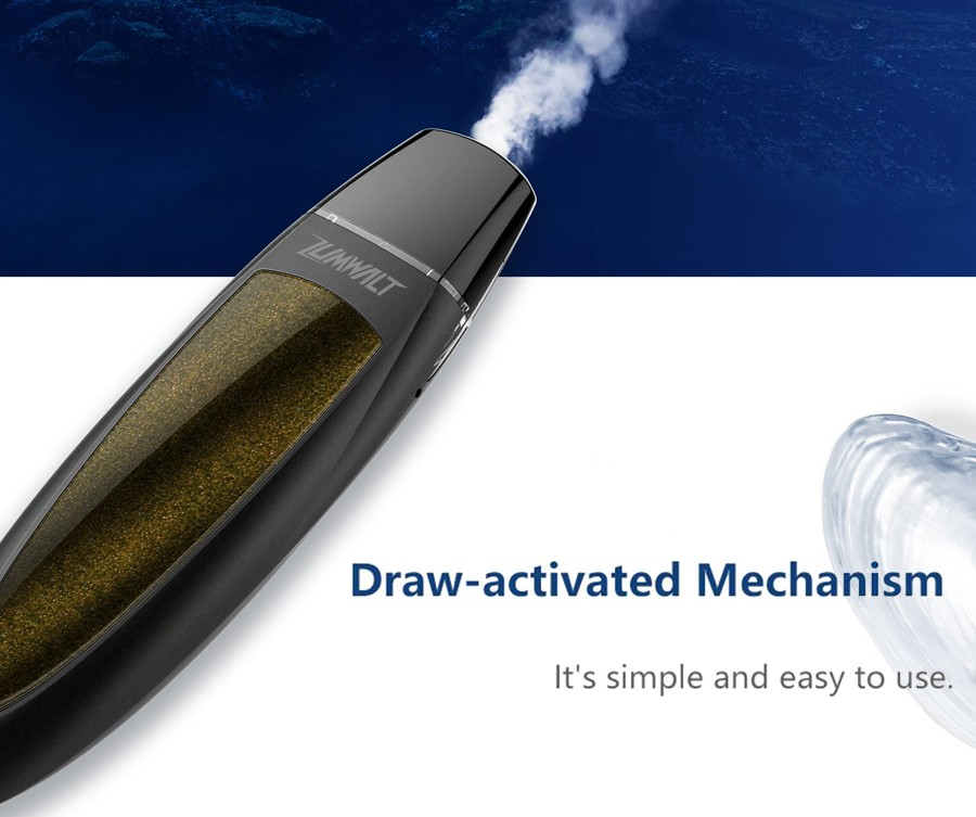 The 520mAh Zumwalt pod kit features a draw activated firing mechanism, for a simple operation.