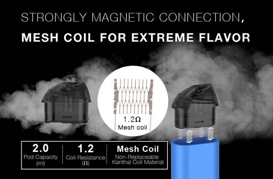 The 2ml Minican replacement pods employ a 1.2 Ohm Kanthal mesh coil, for enhanced, clear flavour and cloud production.