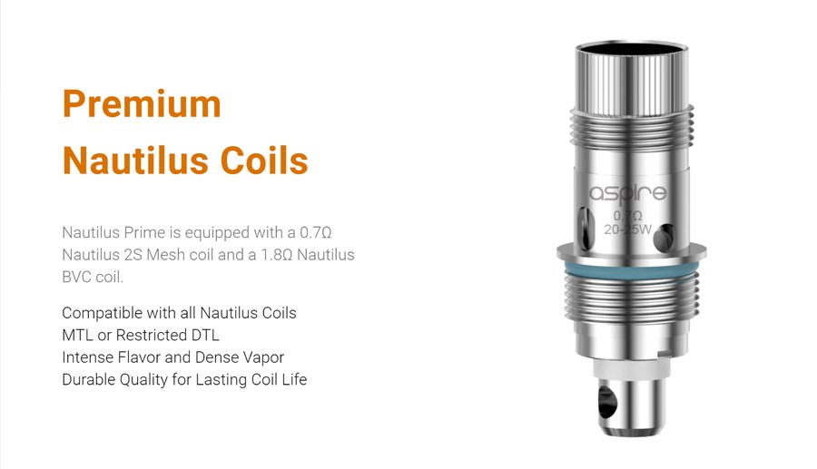 The Nautilus Prime pod kit and replacement pods are compatible with the entire Nautilus BVC coil range as well as the Nautilus Prime RBA coil for rebuildable vapers.