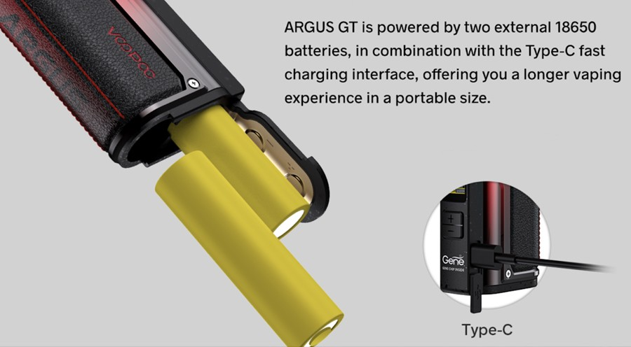 The Argus GT sub ohm vape kit is powered by two 18650 vape batteries for longer vaping and improved power output.