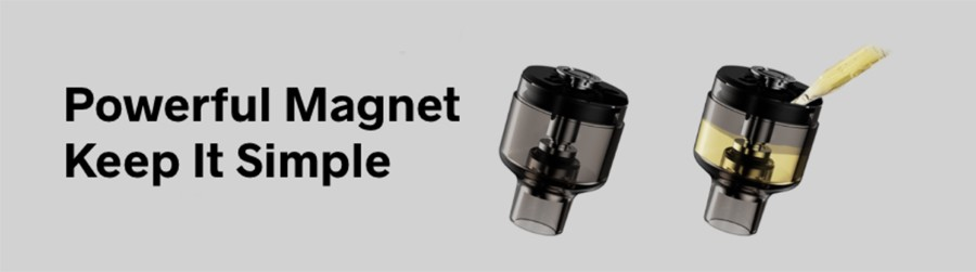 The PnP 2ml podtank is equipped with magnetic connectors, a sleek adjustable airflow and a practical bottom fill method.