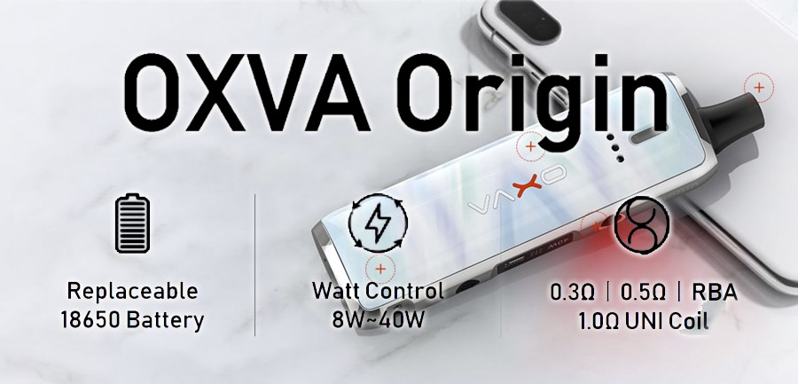 The OXVA Origin vape kit is compact, stylish and very simple to use, making it the ideal choice for vapers of all experience levels.