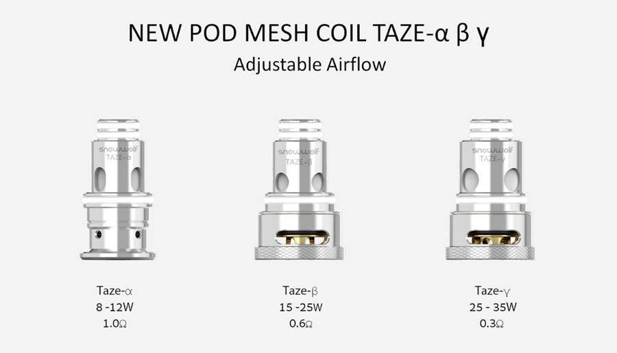The P40 Mini kit and pods employ the Taze mesh coil series, available in a range of resistances as well as an advanced RBA variant.