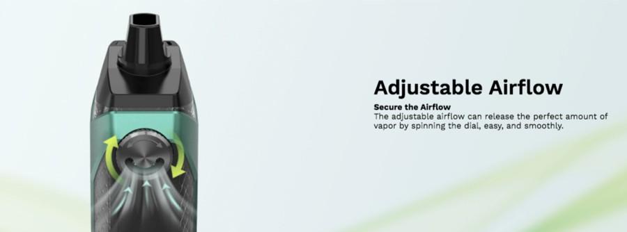 O dispositivo de pod Xiron possui um dial de fluxo de ar ajustável que pode ser configurado para fornecer uma inspiração solta ou uma tração mais forte e restrita.
