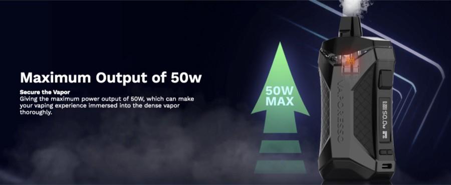 O kit de pod Xiron possui uma bateria de 1500mAh com uma saída máxima de 50W, o que significa que este dispositivo pode ser usado para vaporização MTL e DTL.