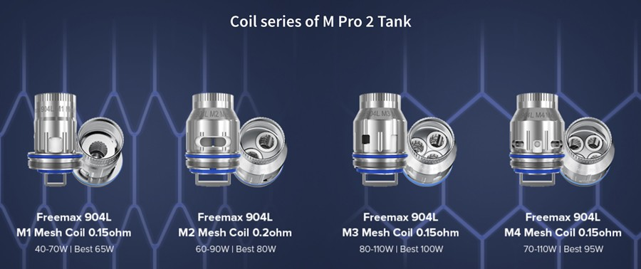 The M Pro 2 is compatible with Freemax M mesh coil series, available in a range of sub ohm resistances.