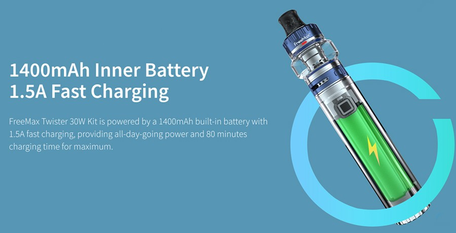 Powered by a built-in 1500mAh battery, the Freemax Twister 30W kit can be used all-day and charged very quickly thanks to the 1.5A charging current.