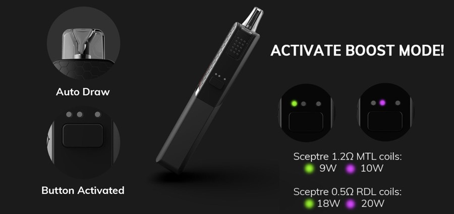 The Sceptre pod device can be fired by either auto draw activation or button activation, whilst also offering a boost mode.