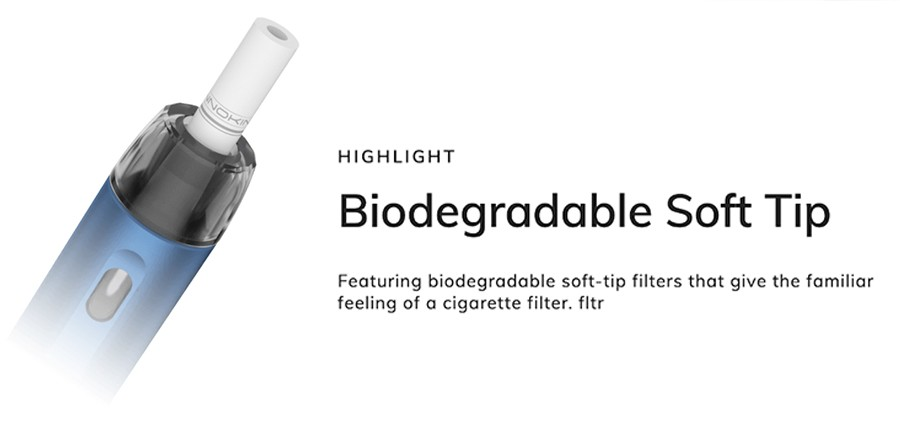 The EQ FLTR pods feature the option of a biodegradable soft tip filter, replicating the feel of a cigarette in an eco-friendly fashion.