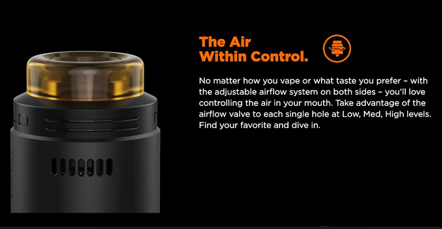 The Talo X RDA features an adjustable dual grid airflow, with precise options for vapers to pinpoint their exact vaping style.