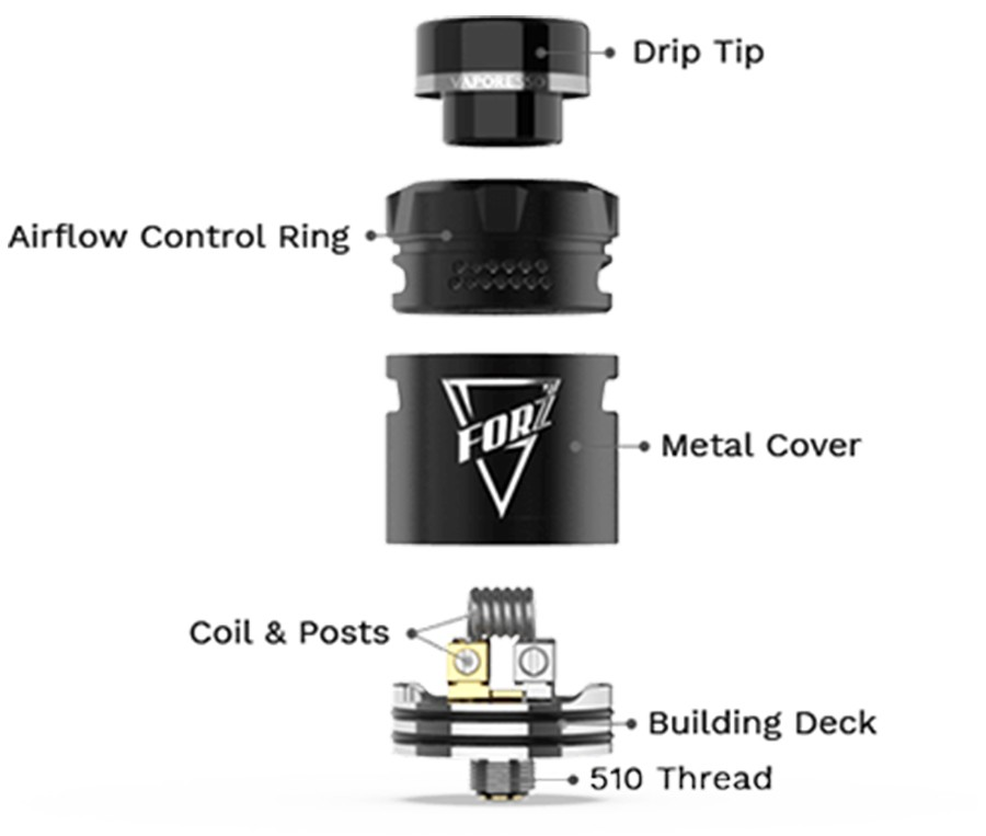 The Vaporesso Forz is a 24mm RDA which can be utilised for both MTL and DTL vaping, with a 510 connection point and a BF pin included.