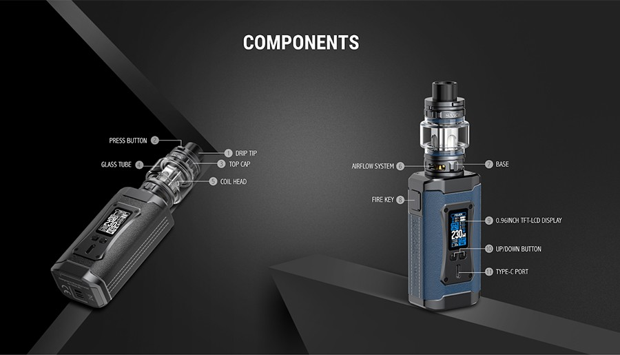 The Smok Morph 2 kit is a high powered sub ohm vape kit featuring a leather patch grip and zinc alloy construction.