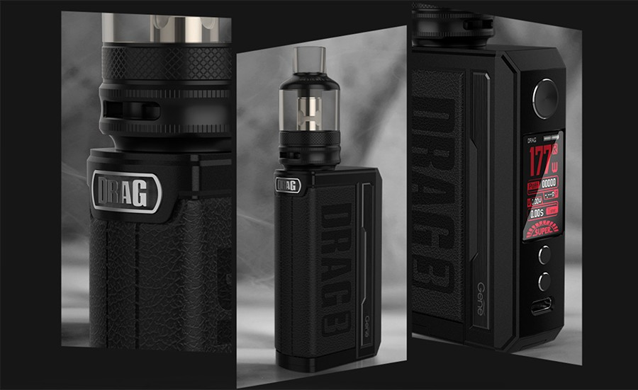 The Voopoo Drag 3 kit is a high performance sub ohm vape kit, powered by dual 18650 batteries and features a leather patch grip and zinc alloy design.