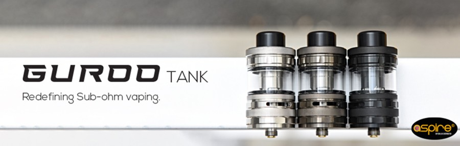 Delivering improved vapour production the Aspire Guroo sub ohm vape tank includes modern features such as top filling and adjustable airflow, and uses mesh coils.